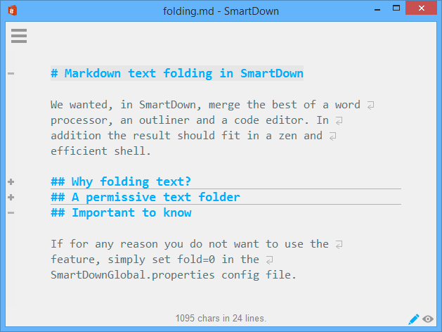 Markdown folding in action in SmartDown