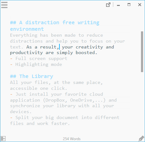 focus mode and full screen : a distraction free writing environment