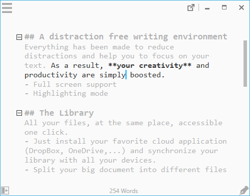 Distraction free Markdown editor