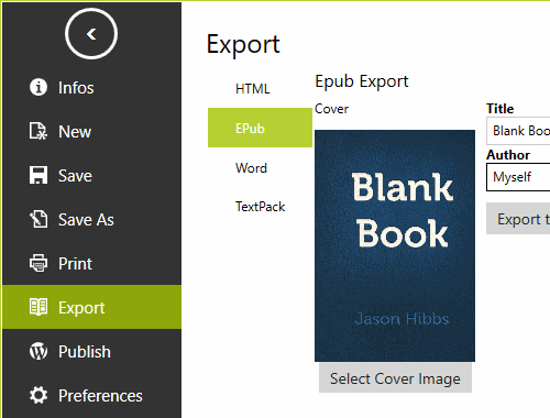 markdown to epub ebook export